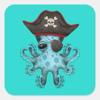 Cute Blue Baby Octopus Pirate Square Sticker