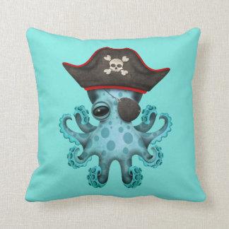 Cute Blue Baby Octopus Pirate Throw Pillow