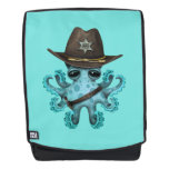 Cute Blue Baby Octopus Sheriff Backpack