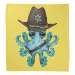 Cute Blue Baby Octopus Sheriff Bandana