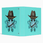 Cute Blue Baby Octopus Sheriff Binder
