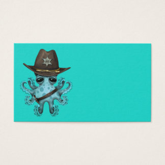 Cute Blue Baby Octopus Sheriff Business Card