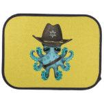Cute Blue Baby Octopus Sheriff Car Mat