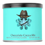 Cute Blue Baby Octopus Sheriff Hot Chocolate Drink Mix