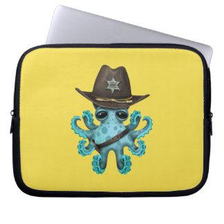 Cute Blue Baby Octopus Sheriff Laptop Sleeve