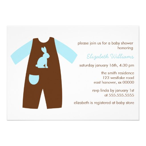 cute blue baby outfit baby shower 5 x 7 invitation card zazzle