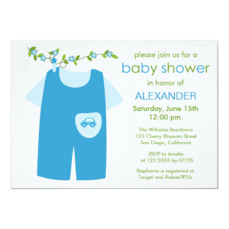 cute blue baby outfit baby shower invitation