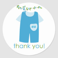 Cute Blue Baby Outfit Thank You Sticker