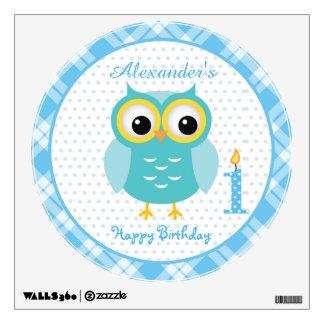 Cute blue baby owl boy 1st Birthday Wall Decal