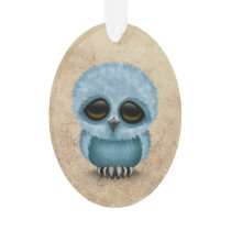 Cute Blue Baby Owl Chic on Aged Texture Ornament
