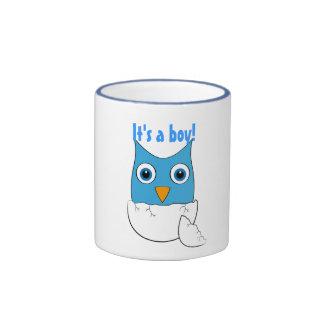 "Cute blue Baby Owl - ""It's a boy"" Coffee Mugs"