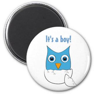 """Cute blue Baby Owl - """"It's a boy"""" Fridge Magnet"""