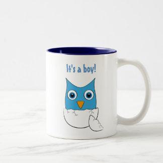 """Cute blue Baby Owl - """"It's a boy"""" Mug"""