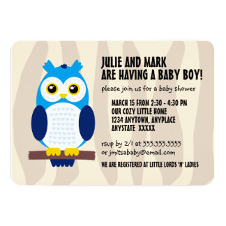 Cute Blue Baby Owls on Branches Card