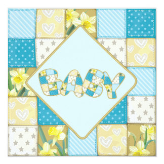 Cute Blue Baby Quilt Baby Shower invitation
