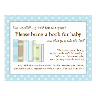 Cute Blue Baby Shower Book Insert Request Card