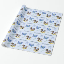 Cute Blue Baby Shower Wrapping Paper