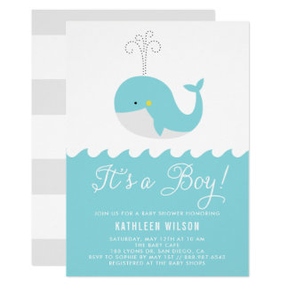Cute Blue Baby Whale It's a Boy Baby Shower Card