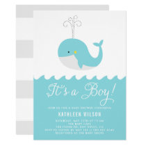 Cute Blue Baby Whale It's a Boy Baby Shower Invitation
