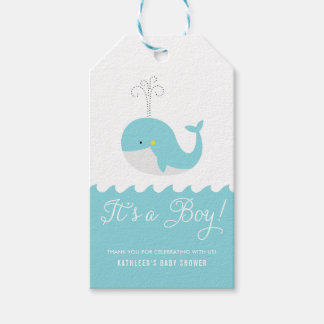 Cute Blue Baby Whale It's a Boy Baby Shower Tag