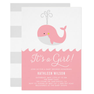 Cute Blue Baby Whale It's a Girl Baby Shower Card