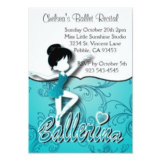 Cute Blue Ballerina Girl | Ballet Dance Recital Card