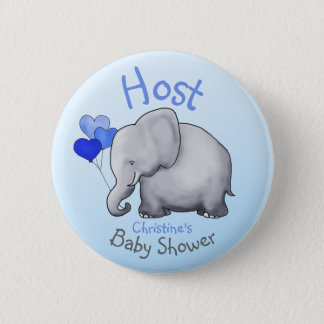 Cute Blue Balloons Elephant Baby Shower Host Pinback Button