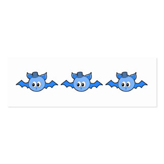 Cute Blue Bat Wearing a Hat. Double-Sided Mini Business Cards (Pack Of 20)