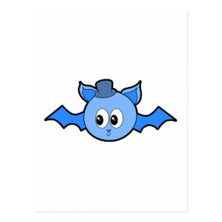 Cute Blue Bat Wearing a Hat. Postcard
