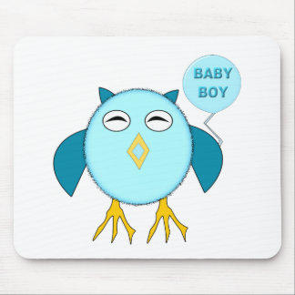 Cute Blue Bbay Boy Owl Mousepad