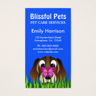 Cute Blue Beagle Puppy Dog and Buttefly Pet Care Business Card