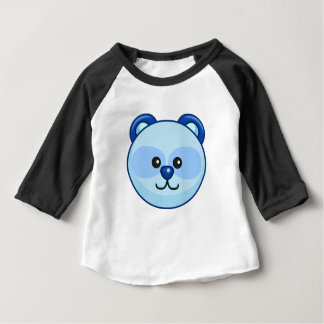 Cute Blue Bear Cartoon Black Customizable Baby Baby T-Shirt