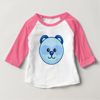 Cute Blue Bear Cartoon Pink Custom Baby Baby T-Shirt