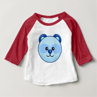 Cute Blue Bear Cartoon Red Custom Baby Baby T-Shirt