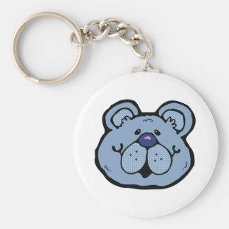 cute blue bear face keychain