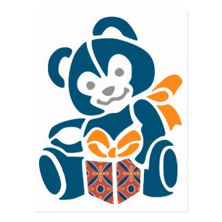 Cute Blue Bear with Present Postcard