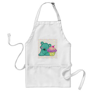 Cute Blue Bear WIth Yummy Purple and Pink Cupcake Adult Apron