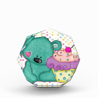 Cute Blue Bear WIth Yummy Purple and Pink Cupcake Acrylic Award