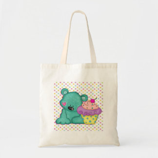 Cute Blue Bear WIth Yummy Purple and Pink Cupcake Budget Tote Bag