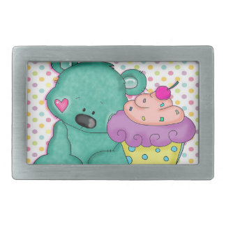 Cute Blue Bear WIth Yummy Purple and Pink Cupcake Rectangular Belt Buckles