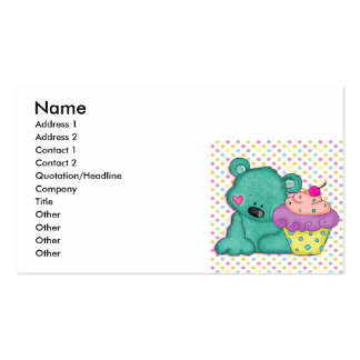 Cute Blue Bear WIth Yummy Purple and Pink Cupcake Double-Sided Standard Business Cards (Pack Of 100)