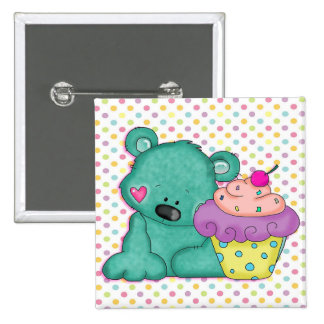 Cute Blue Bear WIth Yummy Purple and Pink Cupcake 2 Inch Square Button
