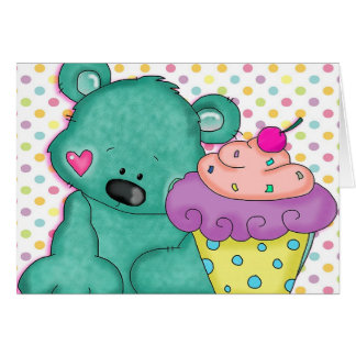Cute Blue Bear WIth Yummy Purple and Pink Cupcake Stationery Note Card