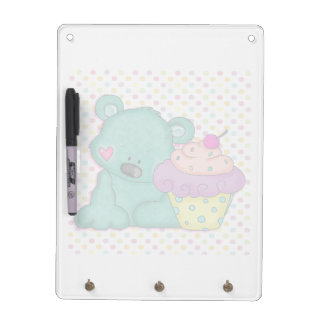 Cute Blue Bear WIth Yummy Purple and Pink Cupcake Dry Erase Board