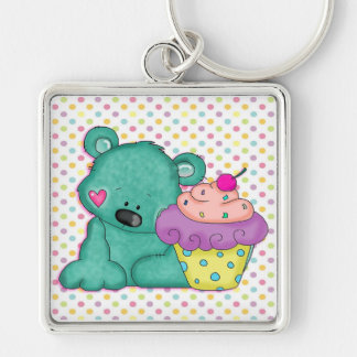 Cute Blue Bear WIth Yummy Purple and Pink Cupcake Silver-Colored Square Keychain