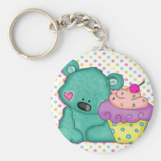 Cute Blue Bear WIth Yummy Purple and Pink Cupcake Basic Round Button Keychain