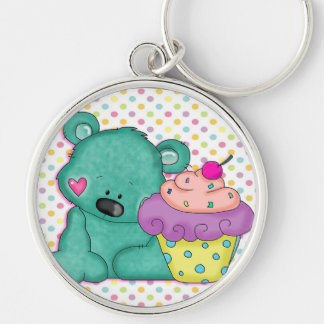 Cute Blue Bear WIth Yummy Purple and Pink Cupcake Silver-Colored Round Keychain