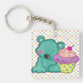 Cute Blue Bear WIth Yummy Purple and Pink Cupcake Double-Sided Square Acrylic Keychain