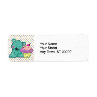 Cute Blue Bear WIth Yummy Purple and Pink Cupcake Return Address Label