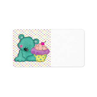 Cute Blue Bear WIth Yummy Purple and Pink Cupcake Address Label